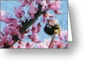 Bumble Greeting Cards - Bee to the Blossom Greeting Card by Jeff Kolker
