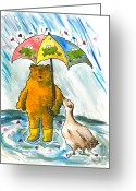 Puddle Painting Greeting Cards - Beebs and Goosey in the Rain Greeting Card by Heart-Led Woman