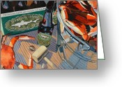 Cat Greeting Cards - Beer and Crabs Number One Greeting Card by Christopher Mize