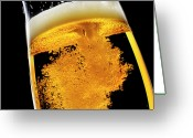 Pouring Greeting Cards - Beer Been Poured Into Glass, Studio Shot Greeting Card by Ultra.f