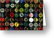 Bottle Cap Greeting Cards - Beer Bottle Caps . 9 to 12 Proportion Greeting Card by Wingsdomain Art and Photography