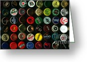 Bottle Cap Greeting Cards - Beer Bottle Caps . 2 to 1 Proportion Greeting Card by Wingsdomain Art and Photography