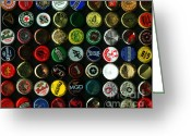 Bottle Cap Photo Greeting Cards - Beer Bottle Caps . 8 to 10 Proportion Greeting Card by Wingsdomain Art and Photography