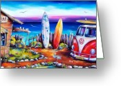 Surf Greeting Cards - Beer OClock Greeting Card by Deb Broughton