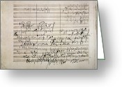 Symphony Greeting Cards - Beethoven Manuscript Greeting Card by Granger