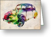 Retro Greeting Cards - Beetle Urban Art Greeting Card by Michael Tompsett
