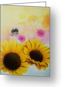 Airbrush Greeting Cards - BEEutifull Sun Flowers Greeting Card by Mike Royal