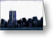 Center City Painting Greeting Cards - Before 9 11 Greeting Card by Stefan Kuhn