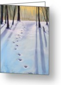 Forest Pastels Greeting Cards - Before Dusk in Deep Snow Greeting Card by Christine Kane