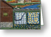 Blue Quilts Greeting Cards - Before Now Greeting Card by Anne Klar