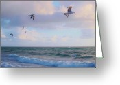 Surf Silhouette Greeting Cards - Before Our Eyes Greeting Card by E Luiza Picciano