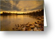 Trees Photograph Greeting Cards - Before Sunrise Lewiston - Auburn Maine Greeting Card by Bob Orsillo