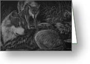 Wolves Drawings Greeting Cards - Before the Hunt Greeting Card by Heather Ward