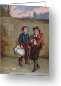 Lads Greeting Cards - Beggars and a Monkey Greeting Card by Augustus Edward Mulready