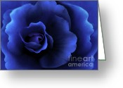 Blue Florals Greeting Cards - Begonia Floral Dark Secrets Greeting Card by Jennie Marie Schell