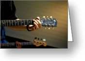 Musicians Glass Greeting Cards - Behind Every Great Guitarist Greeting Card by Steven  Digman