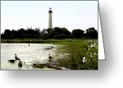 The Cape Greeting Cards - Behind the Cape May Lighthouse Greeting Card by Bill Cannon