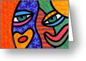 Abstract Bright Color Greeting Cards - Behind the Curtain Greeting Card by Steven Scott
