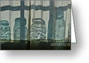 Mason Jars Photo Greeting Cards - Behind the curtains Greeting Card by Sue McGlothlin