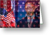 Barack Obama Mixed Media Greeting Cards - Behind the Dream Greeting Card by Fania Simon