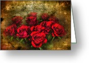 Red Roses Greeting Cards - Behind the Glass Greeting Card by Svetlana Sewell
