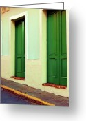 Puerto Rico Greeting Cards - Behind the Green Doors Greeting Card by Debbi Granruth