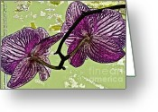 Fushia Greeting Cards - Behind the Orchids Greeting Card by Gwyn Newcombe