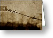 Forbidding Greeting Cards - Behind The Wire Greeting Card by Odd Jeppesen