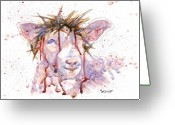 Jesus Painting Greeting Cards - Behold the Lamb Greeting Card by Marsha Elliott