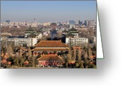Dusk Greeting Cards - Beijing Central Axis Skyline, China Greeting Card by Huang Xin