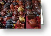 Teapot Greeting Cards - Beijing Teapots Greeting Card by Margaret Pitcher