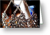 Chandelier Earrings Greeting Cards - Bejeweled Greeting Card by Simone Hester