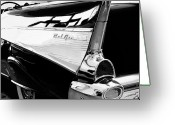 Auto Show Greeting Cards - Bel Air BW Greeting Card by William Dey