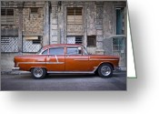 Photographs Digital Art Greeting Cards - Bel Air Chevrolet - Havana Cuba Greeting Card by Artecco Fine Art Photography - Photograph by Nadja Drieling