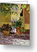 Flower Pots Greeting Cards - Bel-Air Patio Steps Greeting Card by David Lloyd Glover