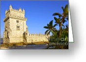 Lighthouse Greeting Cards - Belem Tower Greeting Card by Carlos Caetano