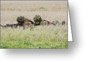 Battleground Greeting Cards - Belgian Paratroopers On Guard Greeting Card by Luc De Jaeger