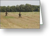 Battleground Greeting Cards - Belgian Paratroopers Proceeding Greeting Card by Luc De Jaeger