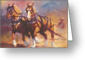 Plowing Greeting Cards - Belgian Team Pulling Horses Painting Greeting Card by Kim Corpany