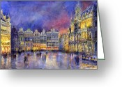 Buildings Painting Greeting Cards - Belgium Brussel Grand Place Grote Markt Greeting Card by Yuriy  Shevchuk