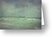 Surf Fishing Photo Greeting Cards - Believe Greeting Card by Judy Hall-Folde