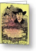 Illustrative Greeting Cards - Believing cowboy Greeting Card by Donald Carmichael
