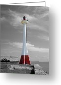 Travelpixpro Greeting Cards - Belize City Lighthouse Color Splash Black and White Greeting Card by Shawn OBrien