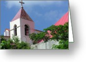 Red Roof Greeting Cards - Bell Tower Greeting Card by Richard Mansfield