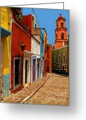 Street Greeting Cards - Bell Tower View Greeting Card by Olden Mexico