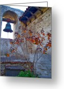Sacred Photo Greeting Cards - Bell Wall and eastern wall of Serra Chapel in Sacred Garden Mission San Juan Capistrano California Greeting Card by Karon Melillo DeVega