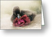 Duckling Greeting Cards - Bella in the Snow Greeting Card by Amy Tyler