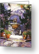 Lions Painting Greeting Cards - Bellagio Fountain Greeting Card by David Lloyd Glover