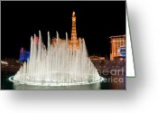 Lit Greeting Cards - Bellagio Fountains Night 2 Greeting Card by Andy Smy