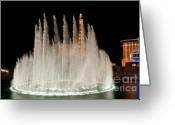 Lit Greeting Cards - Bellagio Fountains Night 3 Greeting Card by Andy Smy
